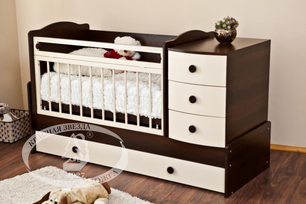 Купить кроватку трансформер с маятником для новорожденного